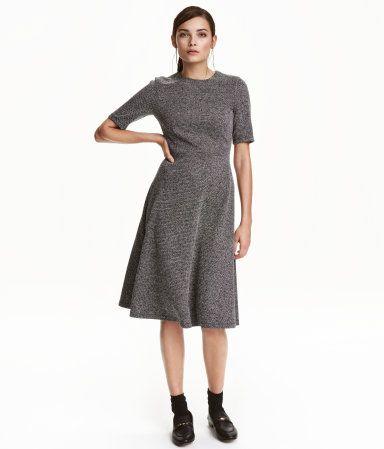 Black/white melange. Calf-length dress in textured, woven ...