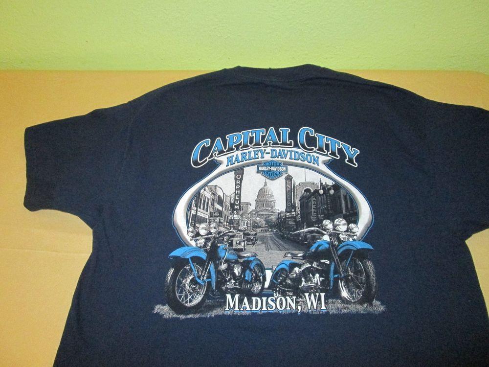 harley davidson dealer t shirt sz xl - blue - madison wi