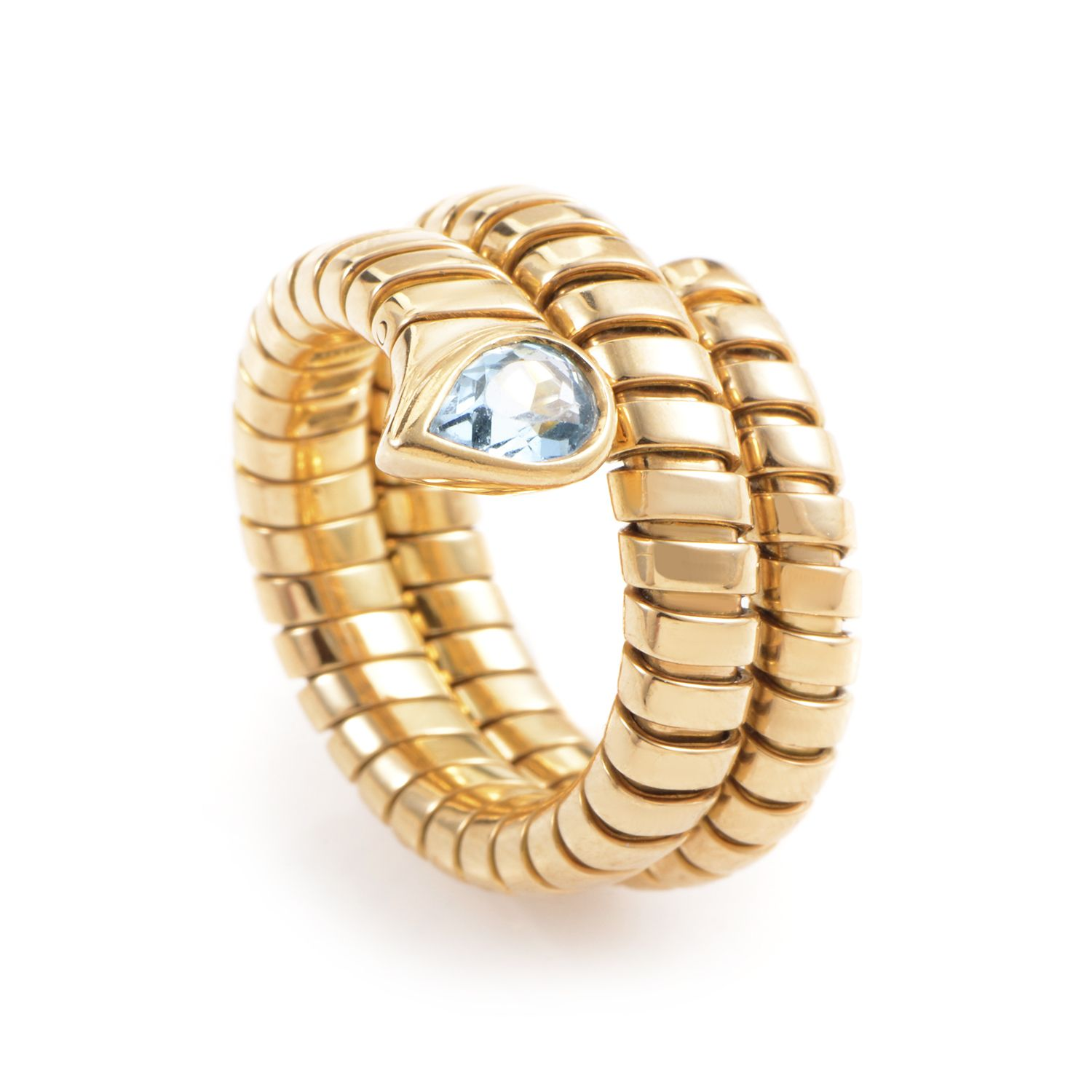 Estate Bvlgari Tubogas 18K Yellow Gold Topaz Ring Special Price 230000