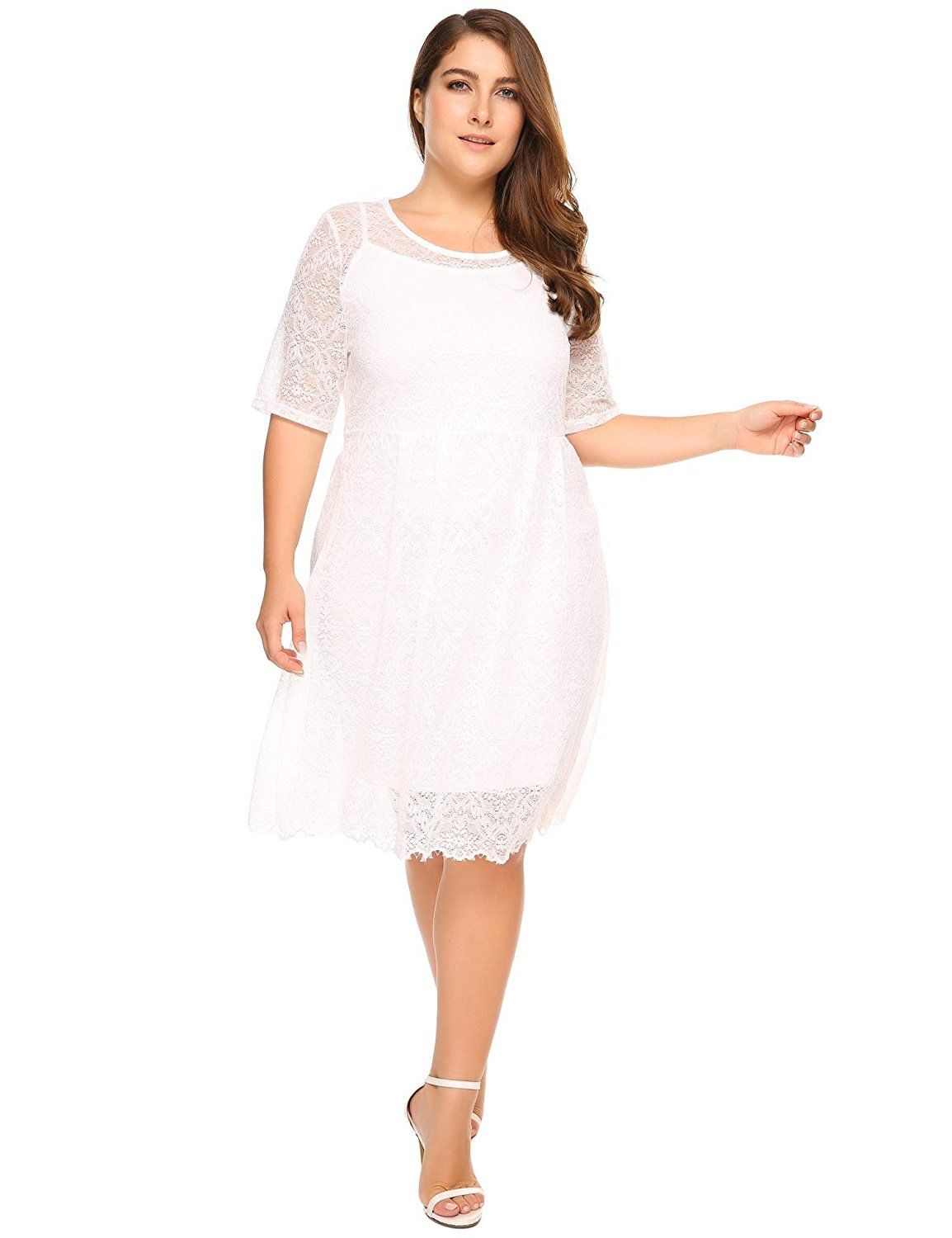 6a832dfd02b3 IN VOLAND Women s Plus Size Lace Bridal Formal Skater Dress - Floral Lace 3