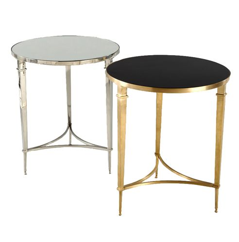 Sofia Round Side Table   Side Table Available In Brass With Black Granite  Top Or Nickel