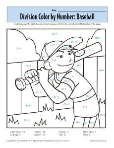 Math Coloring Sheets on Color By Number Baseball Printable Division ...