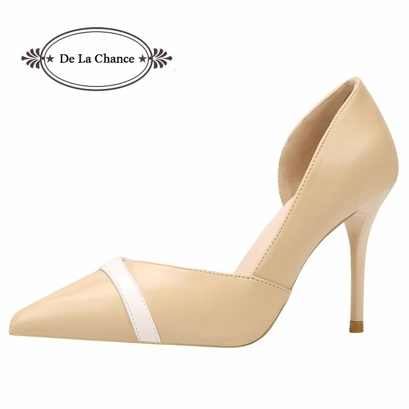 De La Chance Women Pumps Leather Elegant High Heels Women Pumps Nude High Heel  Shoes Woman 0a333deccd0a