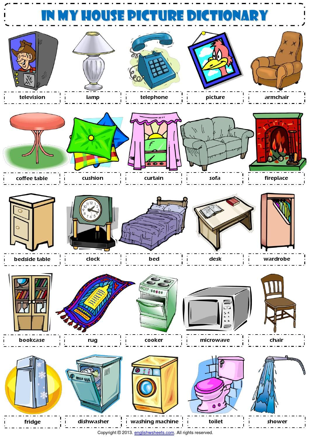 English Vocabulary In My House Furniture English English Vocabulary And Plays