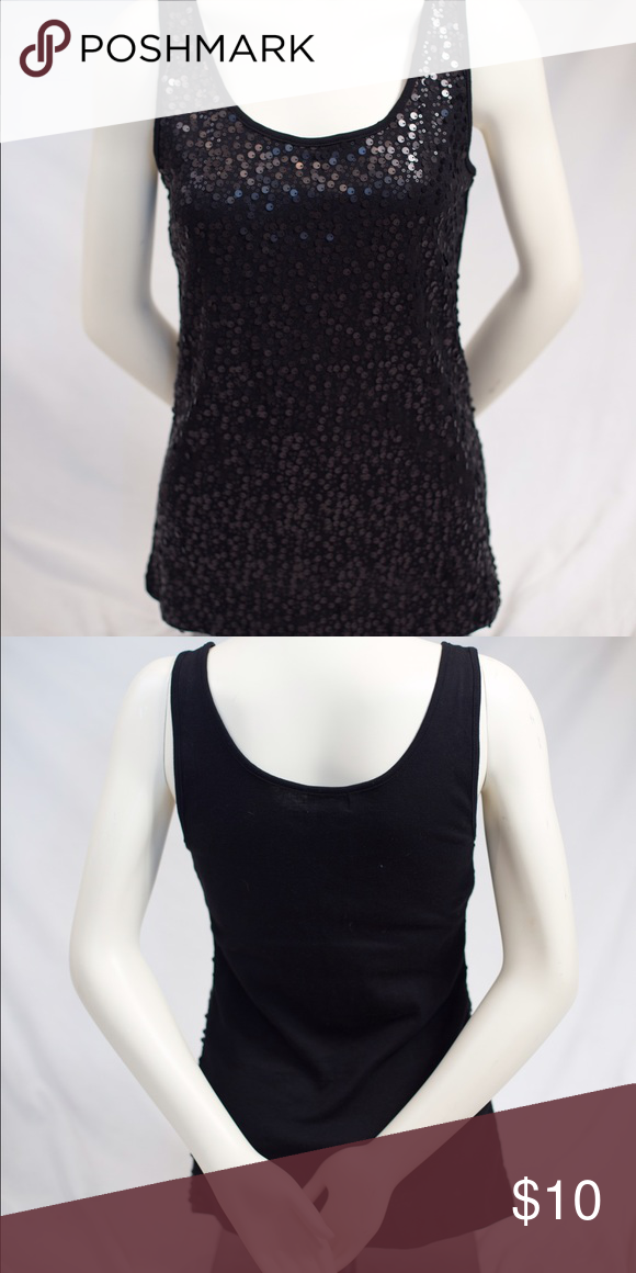 4dce75ec94033 NWT black sequin tank top! NWT black sequin tank top! Size large! Super  cute and fun for a night out! Old Navy Tops Tank Tops