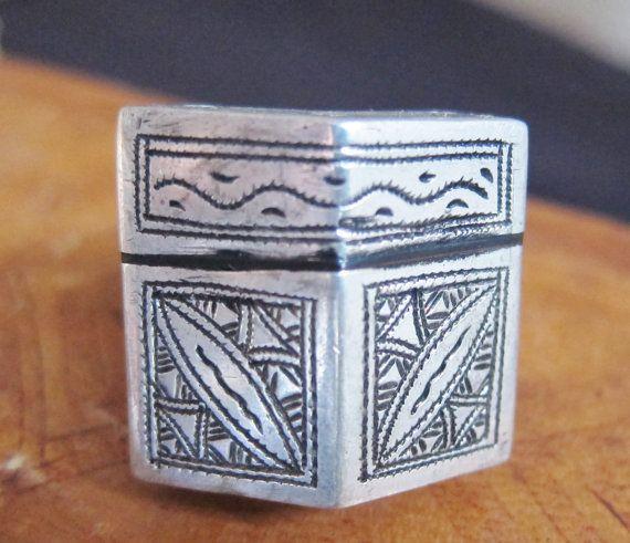 Tuareg Tribal Silver Ring with Ebony Inlay by TuaregJewelry, $138.00 via Ineke Hemminga