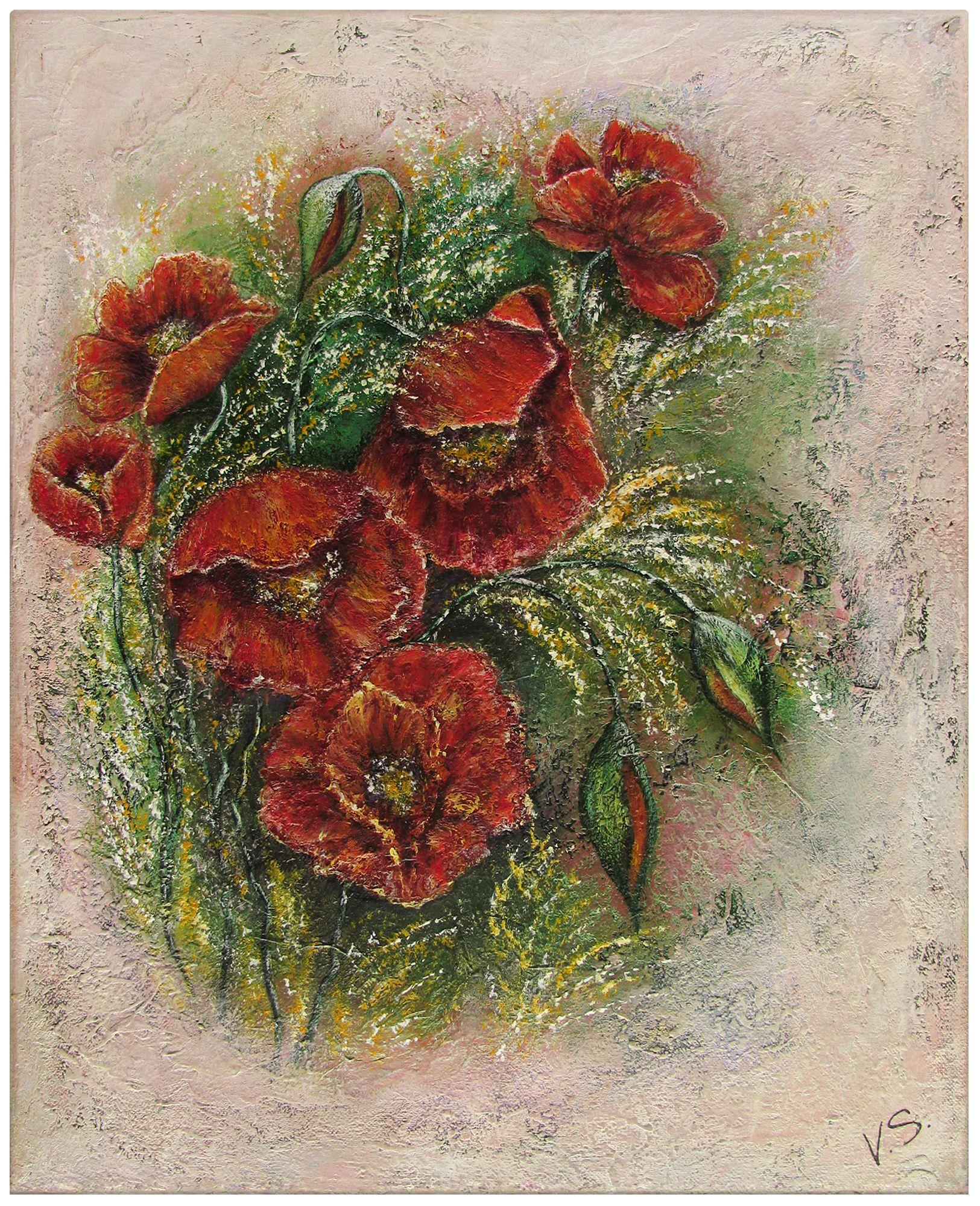 Acrylgemälde mit Strohpapier auf Leinwand, abstrakt, 40x50 cm. Das Bild ist ein handgefertigtes Unikat. Die Seiten der Leinwand sind farblich angepasst, so dass das Bild auch ohne extra Rahmung aufgehängen werden kann. Zum Schutz ist das Acrylbild mit einem Schlussfirnis versehen.