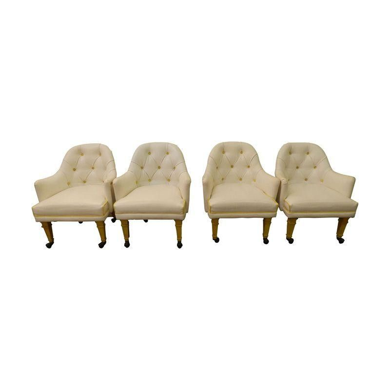 Set of 4 White Vinyl Tufted Dining Chairs | Tufted dining ...