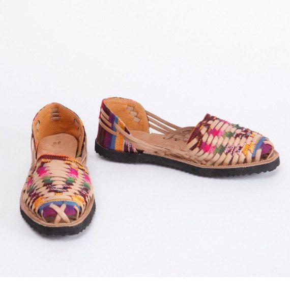 Multicolor Leder Sandalen Huaraches von TheMayanMarket auf Etsy