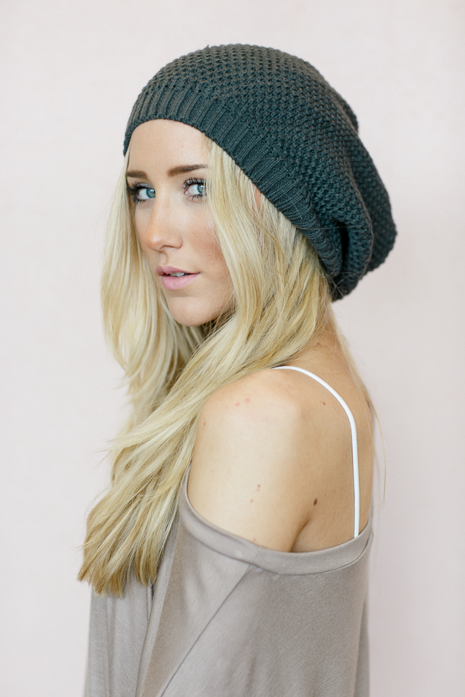 706c231ca48 Slouchy Knitted Beret Beanie - Charcoal – Three Bird Nest