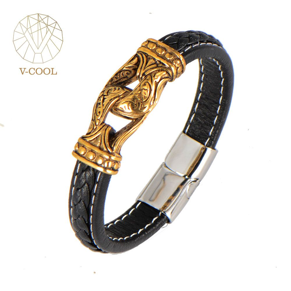 Simple black men bracelet leather jewelry stainless steel gold clasp