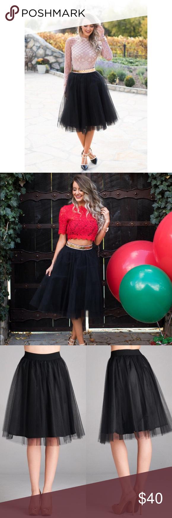 Black Tulle Skirt ELASTIC BAND MESH OVERLAY SKIRT. (SIZE CHART-S) 100% POLYESTER Skirts Midi