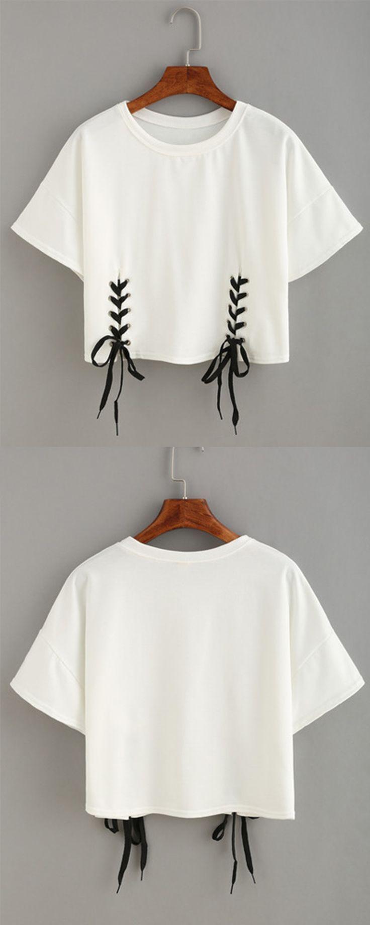 double lace-up hem crop t-shirt | ❧ ℰlegant ℱashion