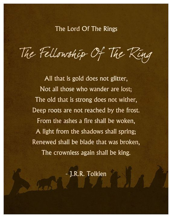 The Fellowship of the Ring Quote Poster by MINIMALISTPRINTS