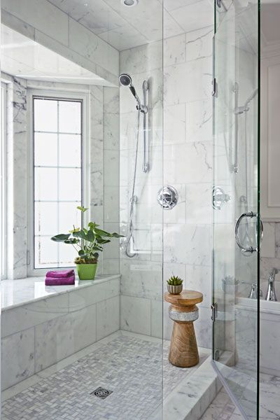 This Window Bay Is Lined With Marble To Be Watertight Privacy