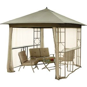 Mainstays Landsdowne Heights Double Shelf Gazebo With Netting 10 X 10 Gazebo Gazebo Canopy Gazebo Pergola