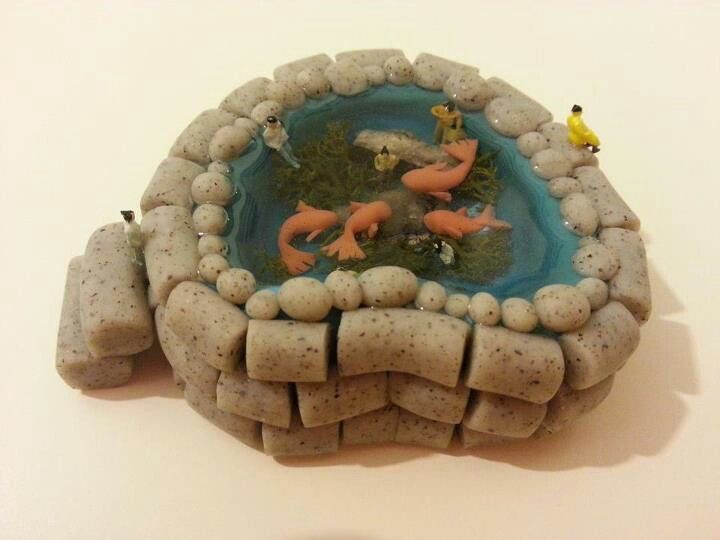 Dee raa arts polymer clay sculpey fimo pond miniature for Clay koi fish