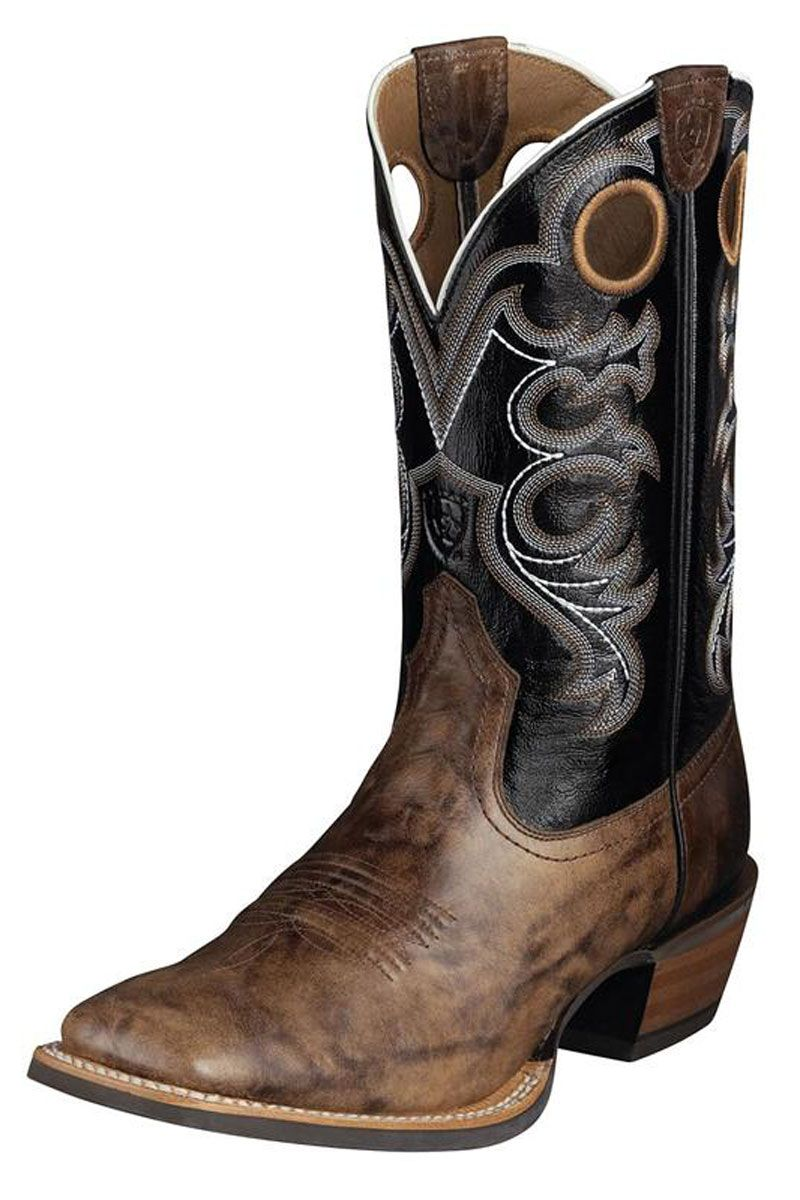 Ariat weathered crossfire black cowboy boots with