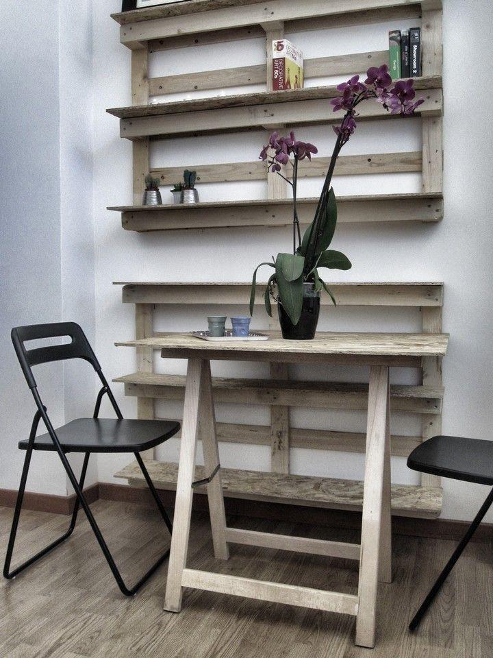 Soaassociati tavolo e scaffali realizzati con pallet for Piccoli piani domestici con costi da costruire