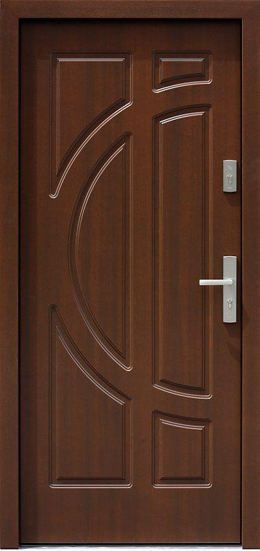 Exterior wooden doors model 599f in walnut color
