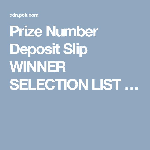 Prize Number Deposit Slip WINNER SELECTION LIST … | Alex