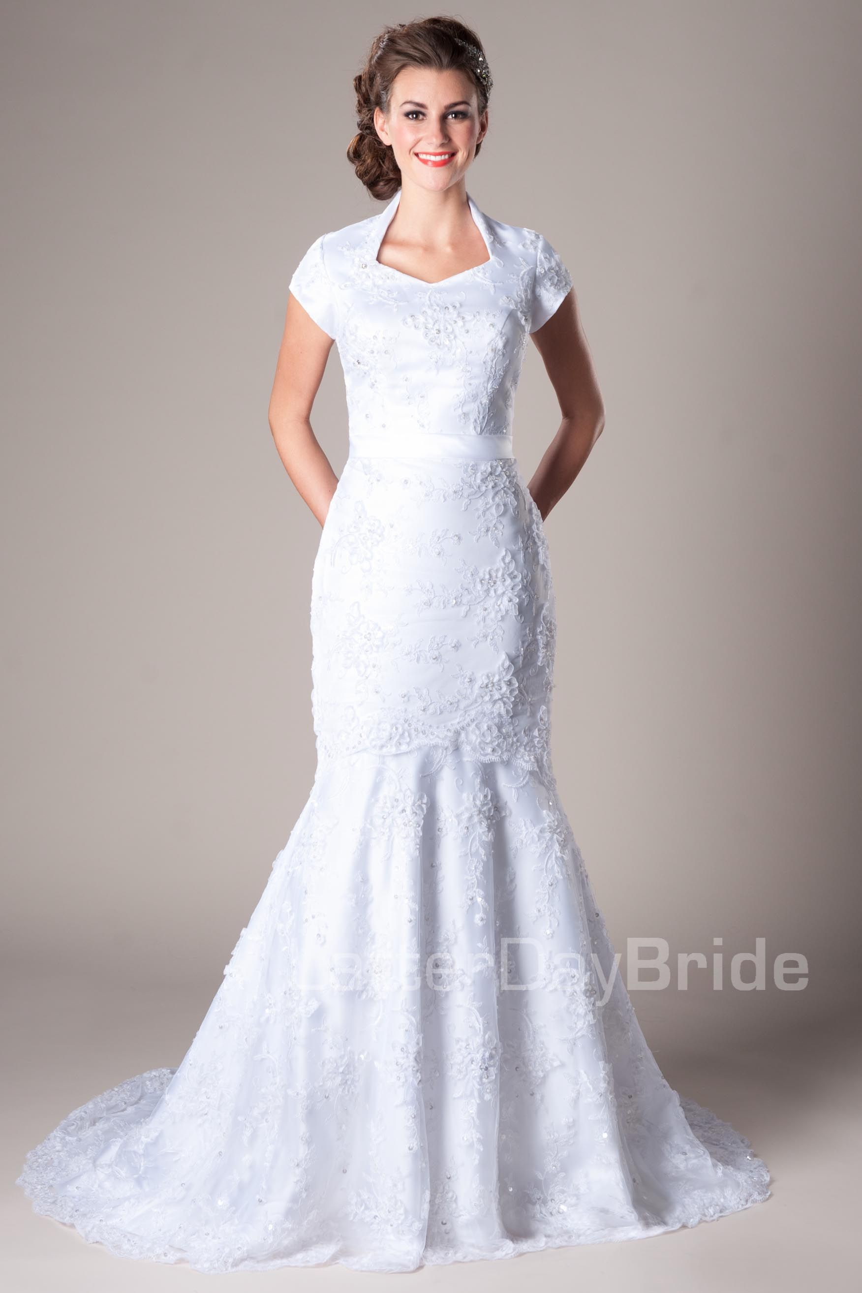 Really Pretty Modest Floral Lace Mermaid Wedding Dress Queen Anne Neckline
