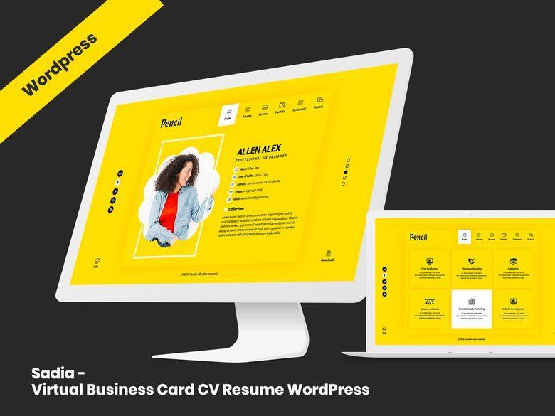 Sadia Virtual Business Card Cv Resume Wordpress Theme Wordpress Theme Wordpress Theme Portfolio Creative Wordpress Themes