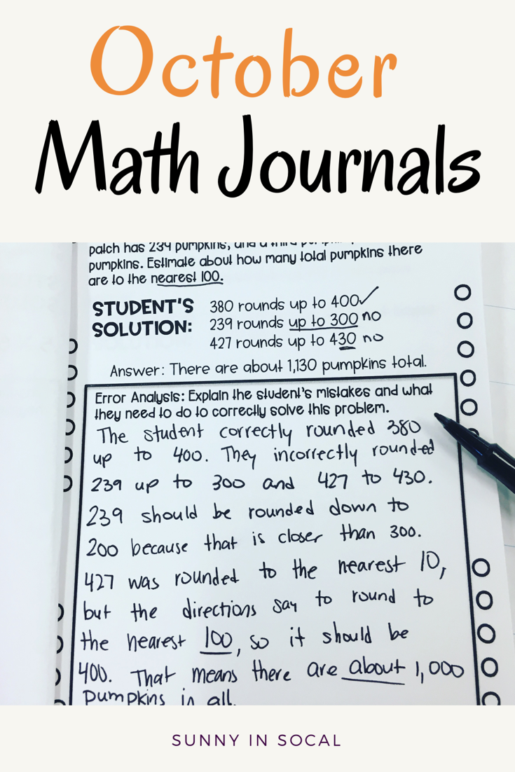 October Math Journal Error Analysis and Problem Solving | Pinterest ...