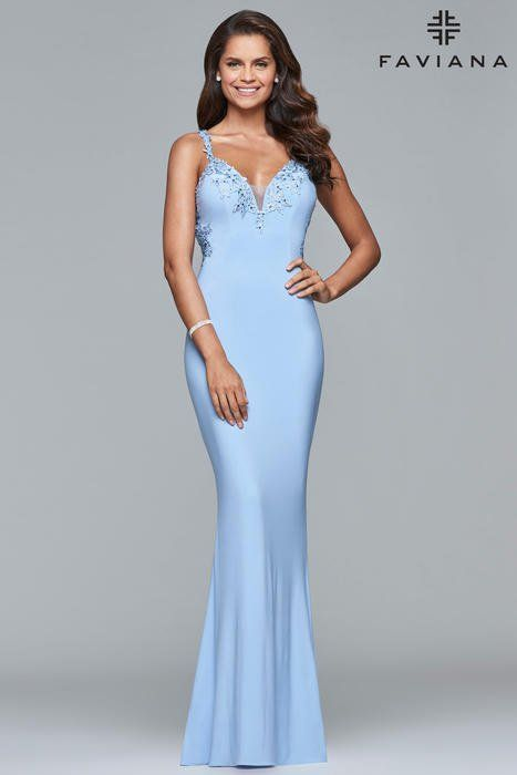 d6c8035c49e Faviana Glamour S7999 Faviana style S7999 is exquisite. The dress features  a v-neck and with a fit and flare skirt. Lace applique lines the neckline  and ...
