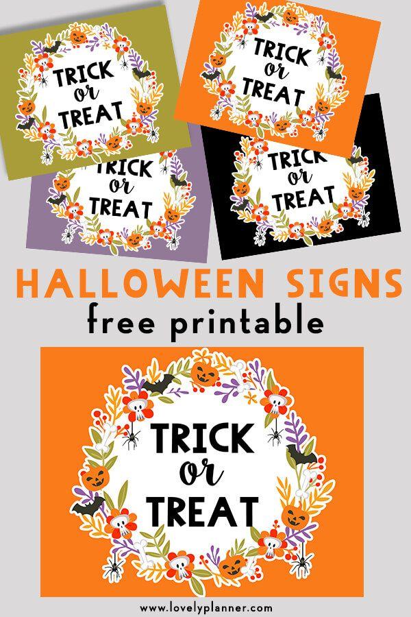 Free Printable Halloween Trick or Treat Signs | Halloween ...