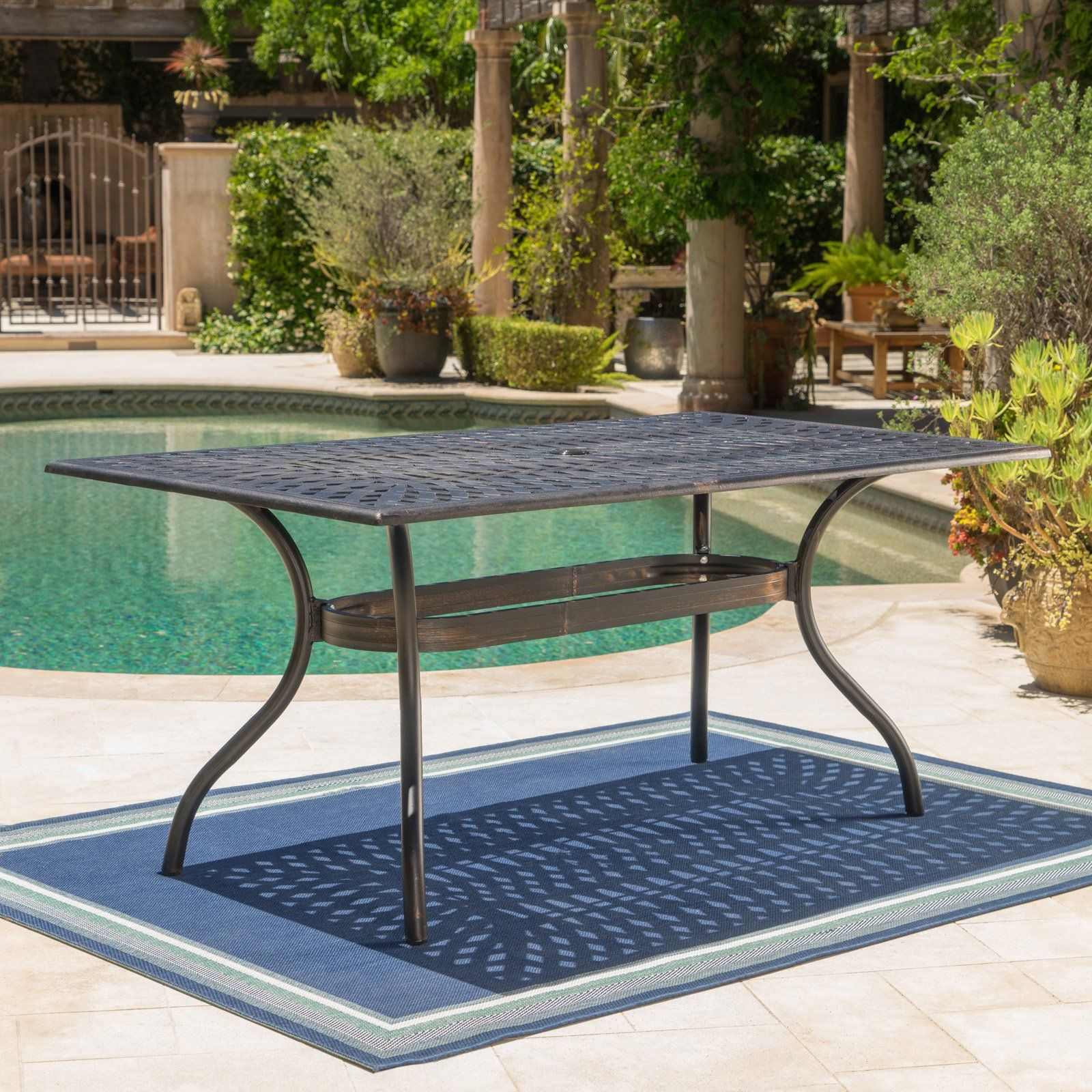 Austin Outdoor Shiny Copper Rectangular Dining Table Patio