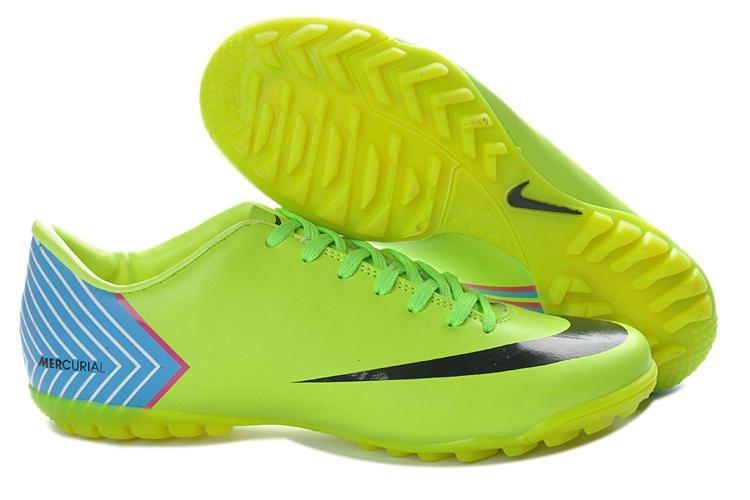 Hot Sale Cheap New Soccer Shoes 2013 Nike Mercurial Vapor X TF Boots -  Fluorescent Green Blue Black