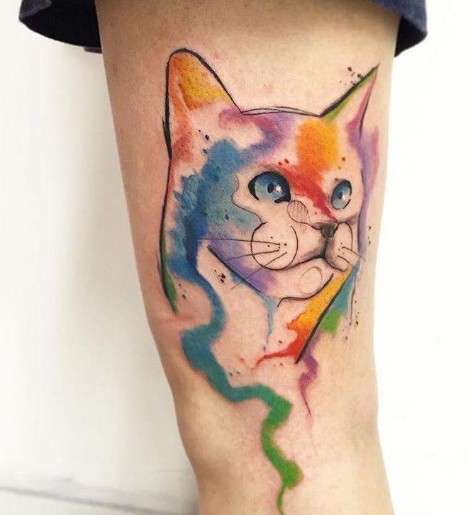 Watercolor Kitten Cat Tattoo Animal Tattoos Skull Butterfly Tattoo