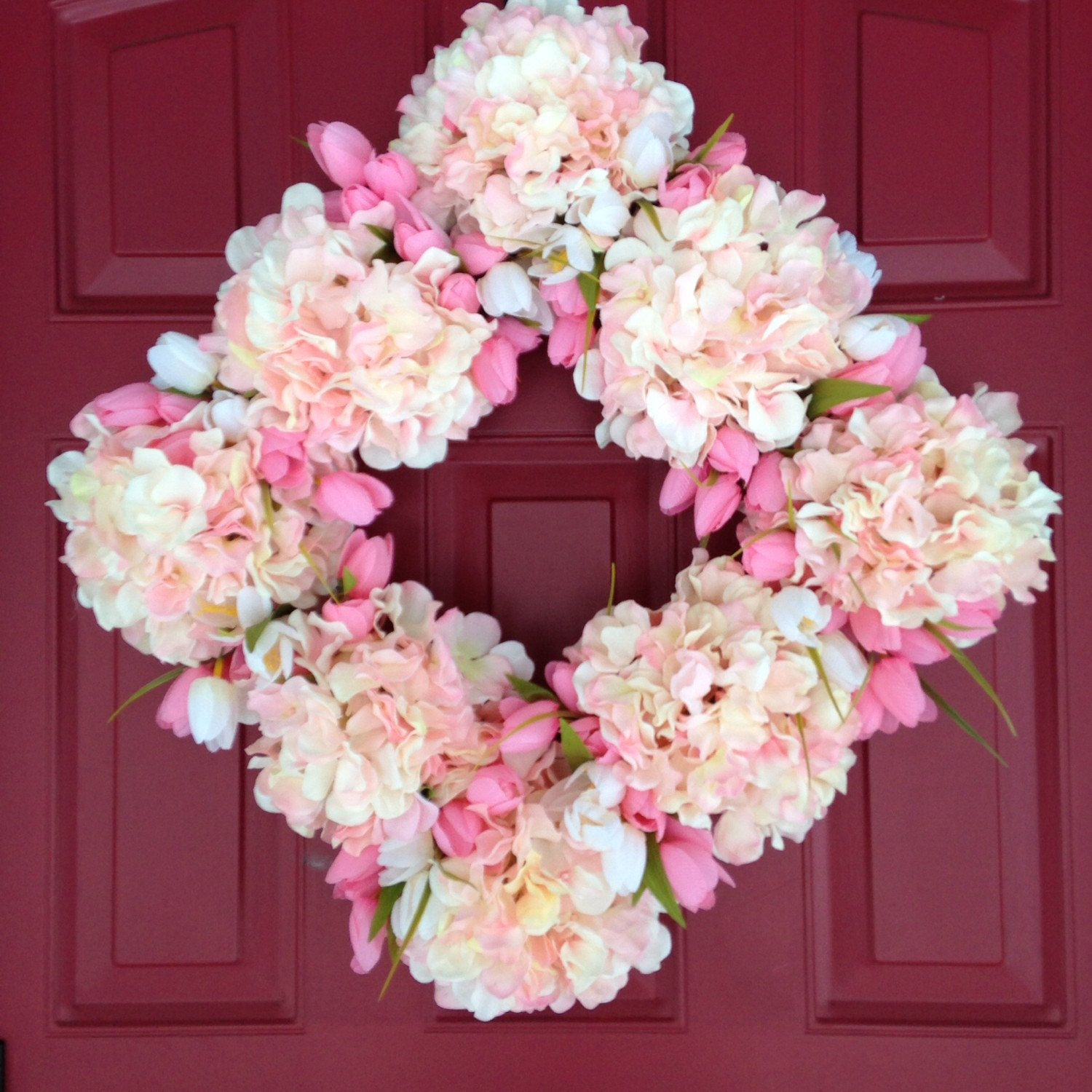 Pink Hydrangea And Pink Tulip Wreath   Square Wreath