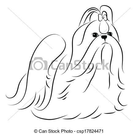 Wektor Shih Tzu Uproszczony Sylwetka Zbiory Ilustracji Ilustracje Royalty Free Zbiory Ikon Klipart Zbior Ikon Klipart Lo Shih Tzu Dog Drawing Dog Art