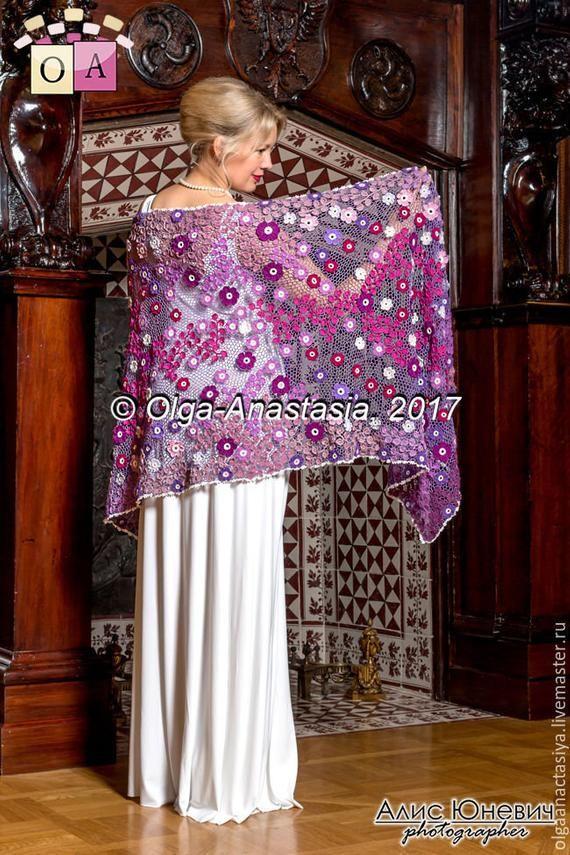 CROCHET PATTERN. Red, pink,white and purple tippet. Handmade. Irish lace #irishlacecrochetpattern