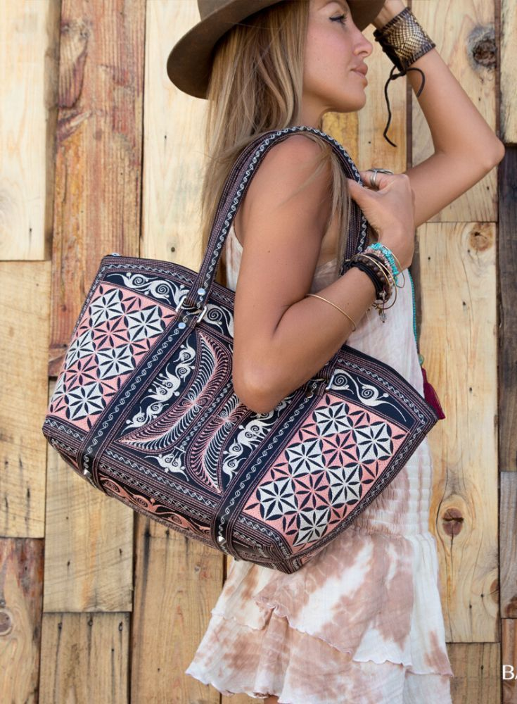 Fashion Ideas For Women Classy                                       The Banda Tote Bag will be your staple accessory this summer! 100% cruelty-free, it features handmade traditional designs that will have you carrying a piece of art made with love by our Sumatran artisans. #veganbag #handbag #womenbag