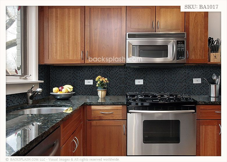 Black Countertops With Backsplash Black Granite Glass Tile Mixed Kitchen Backsplash