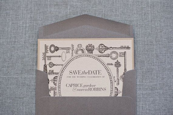 Champagne Gold And Silver Skeleton Key Wedding Save The Date