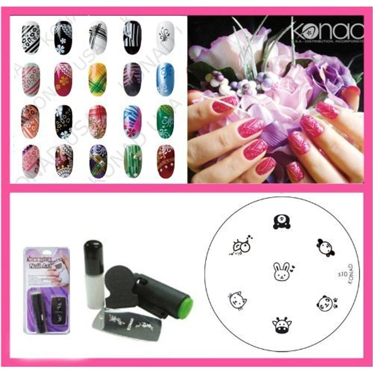 Bundle 3 Items : Konad Nail Art Mini Set Polish, Stamper, ,Scraper ...