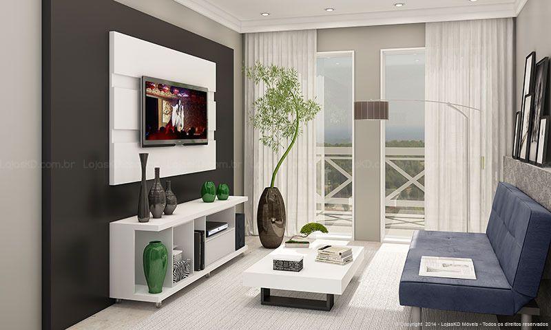 Conjunto para Sala de Estar com Rack com rodízios, Painel para TV e Mesa de Centro Branco Preto  -> Decoração De Sala De Estar Com Painel De Tv