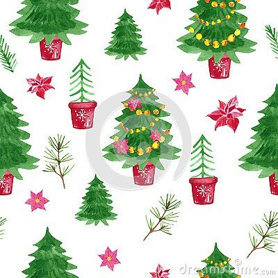 Holiday Symbol Watercolor Shristmas Trees Seamless Pattern With