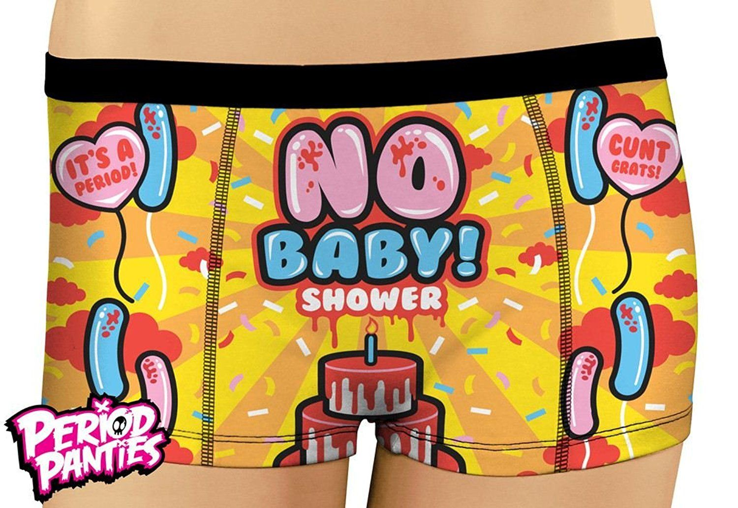 d1de6010807d Period Panties Cute Design Boyshort Style Knickers No Baby Shower at Amazon  Women s Clothing store