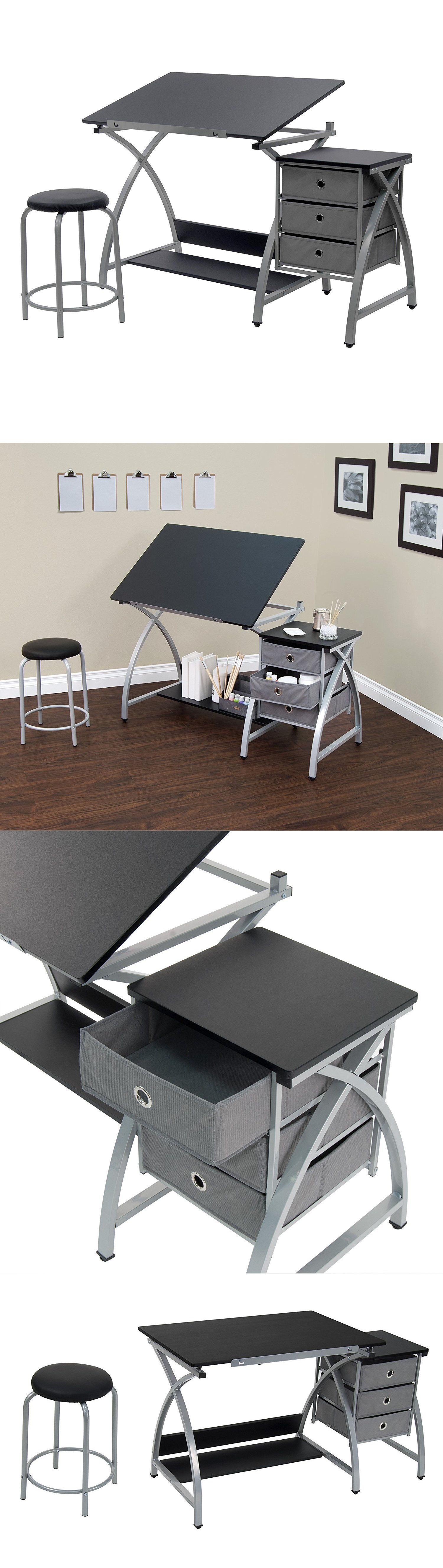 Drawing Boards And Tables 183083: Adjustable Drafting Table Top Artist Stool  3 Storage Shelves Black