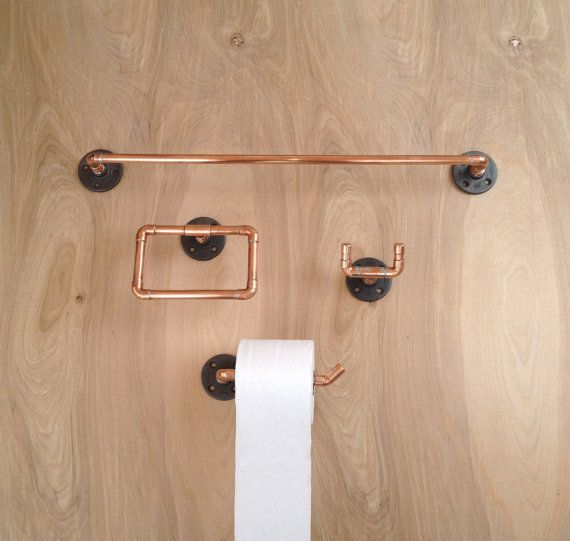 Industrial Bathroom Accessories Set 4 Pc Copper Pipe