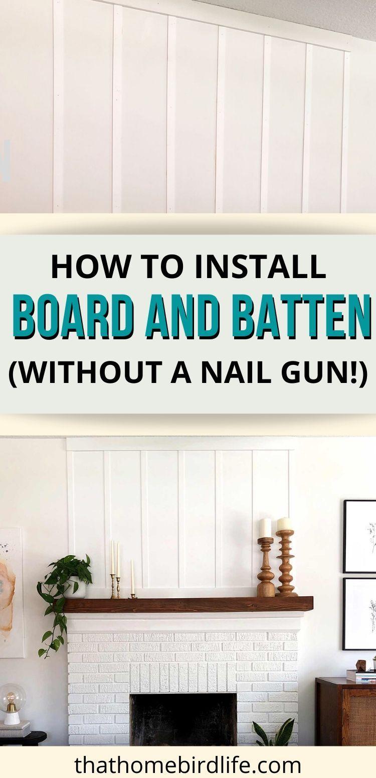 DIY Board and Batten Tutorial: Creating a Focal Point Above the Fireplace | That Homebird Life Blog | #diy #diyhomedecor #boardandbatten #fireplace