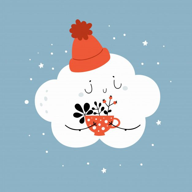 Photo of Cartoon Little Cloud In Hat With Cup Of Coffee, Herbal Tea