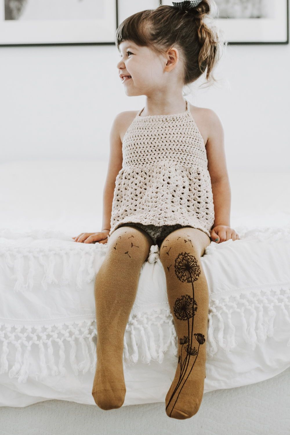 Brown dandelion girls tights Virivee Tights Designed