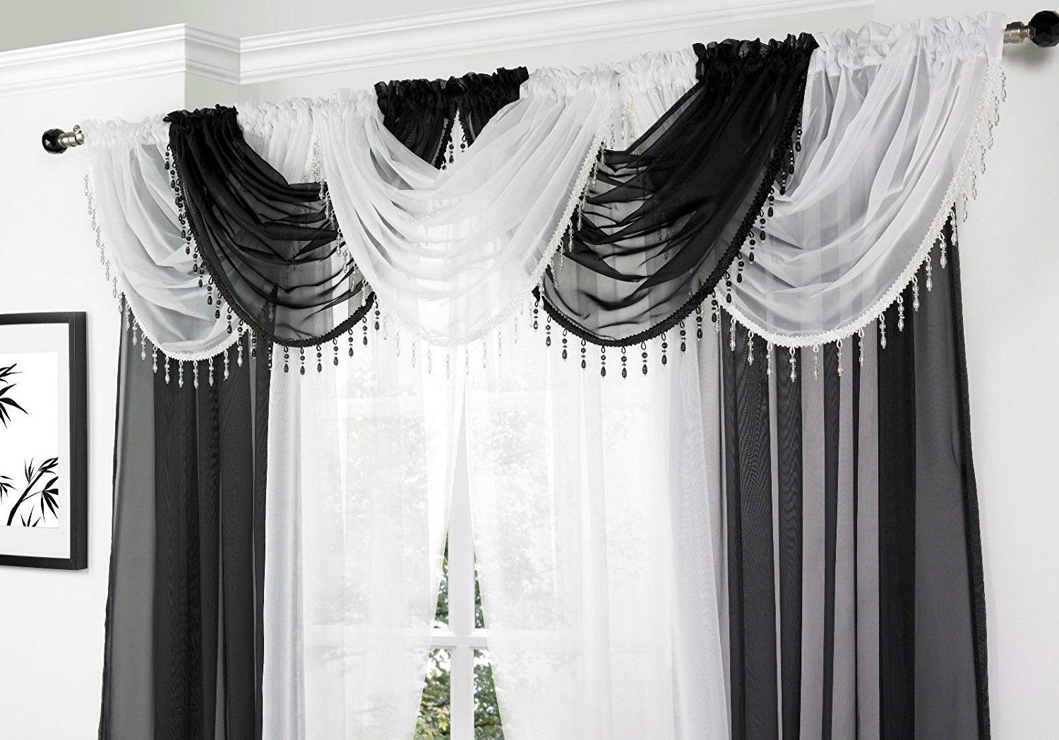 White Voile Curtain Swag With Crystal Beaded Trim By