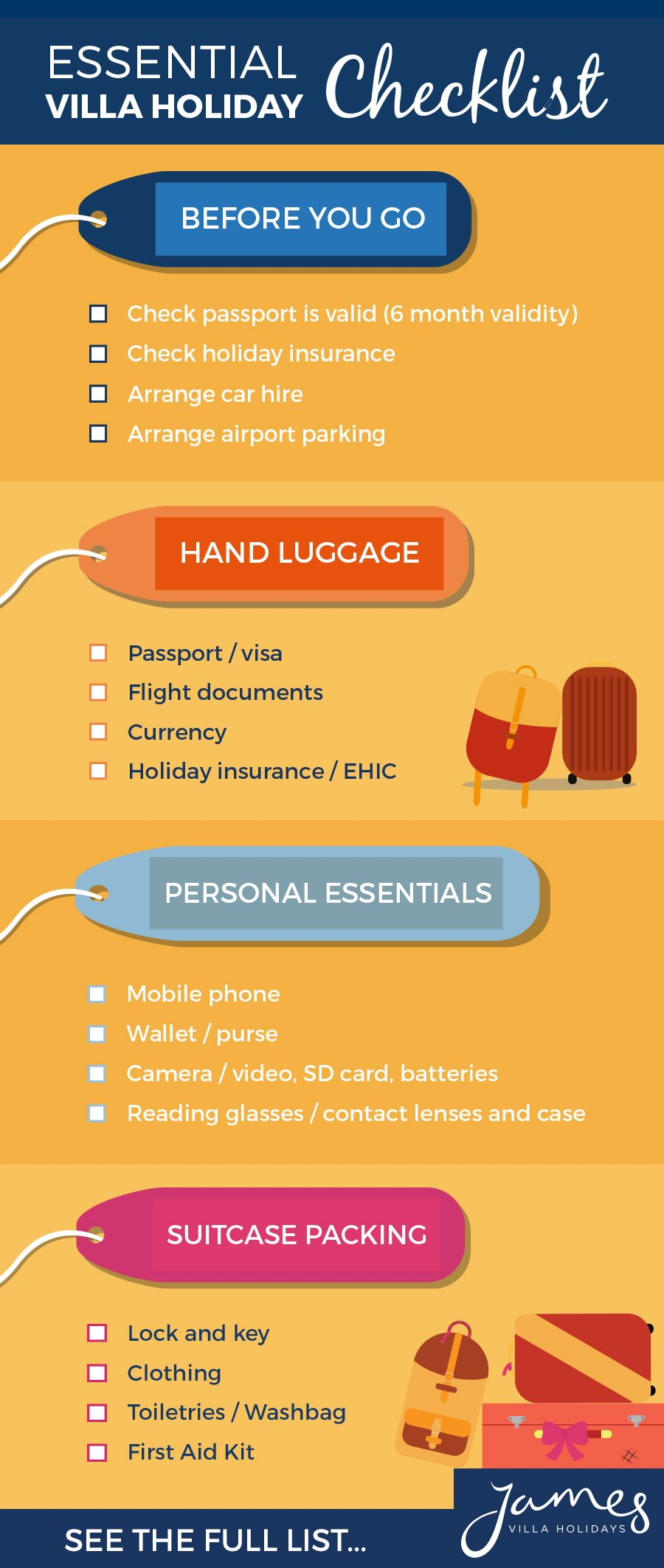 Download this essential villa holiday checklist and tick as you pack everything for your next villa holiday. You won't forget a thing!